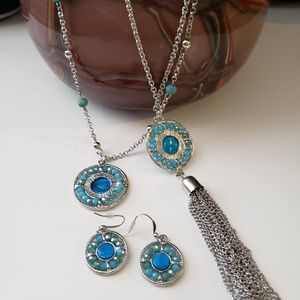 Jewelry - 2 blue/silver necklaces and earring set
